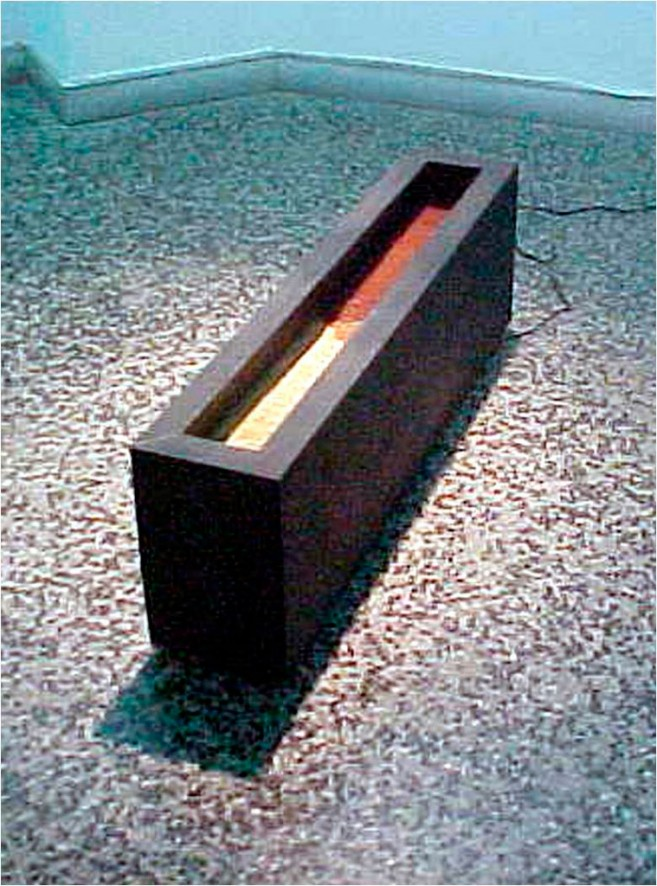 Principio y Fin, 2001 / Madera, metal, tierra y motor eléctrico / 33,5 x 104,6 x 20 cm. Edición: 1/3
