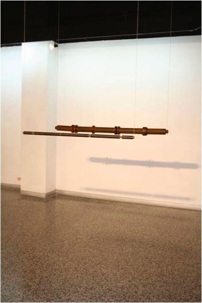 Éxtasis, 2006 / Acero y madera / 118,5 x diam. 3,2 cm. / 148 x diam. 10,6 cm