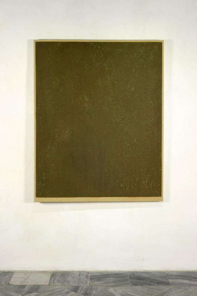 Valor abstracto (equivalencia) # 3, 2001-2015. Óleo y limadura de monedas devaluadas sobre lienzo. 170 x 136 x 3,5 cm