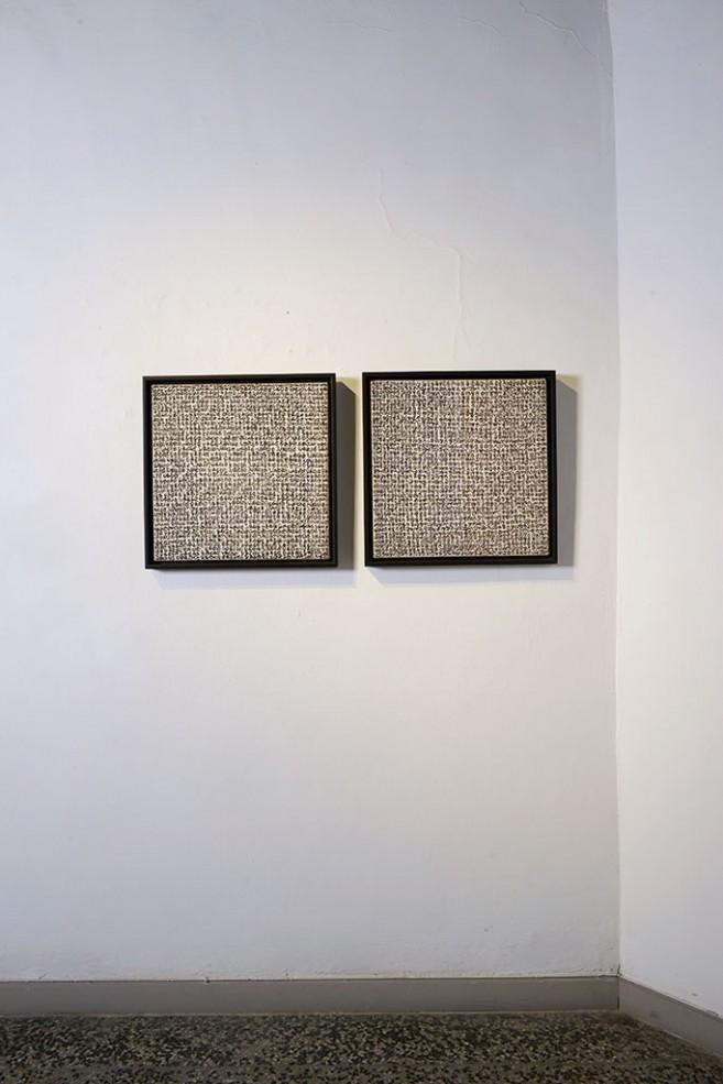 Horror vacui, 2002. Díptico Tinta/lienzo. 50 x 50 cm cada uno