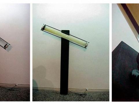 Armonía de Contrarios, 2001 /Metal, madera, tubo de cristal, agua, aceite industrial y motor eléctrico / 170 x 102 x 33 cm