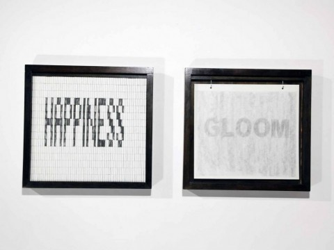 Happiness, 2008-2011 / Wood, rubber eraser, graphite and heavy paper / 54, 5 x 56, 5 cm each one