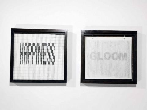 Happiness, 2008-2011 / Madera, Gomas de borrar, Grafito y Cartulina / 54, 5 x 56, 5 cm c/u
