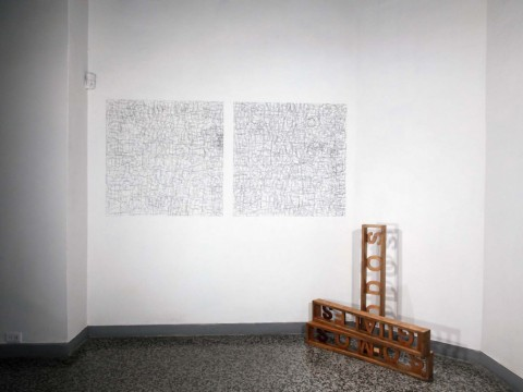 Pattern, 2010 / Graphite on wall and wood / Dimensions variable